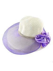 Image of Sole cappello spiaggia donne cappello di paglia Floppy con puro