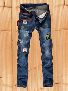 Image of Jeans Skinny Blu Jeans Uomo Denim Distressed Logo gamba a tubo