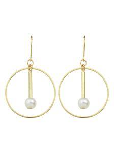 Image of Oro gancio orecchini perla ritagliare cerchio orecchini