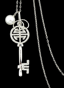 Silver Chain Necklace Women`s Pearl Rhinestone Key Pendant Necklace