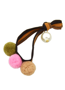 Image of Maglia multicolor Pom Poms cravatta capelli accessori per capelli