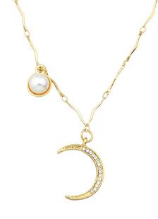 Image of Collana catena ciondolo in oro collana perle luna Deco donne