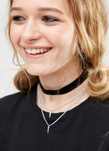 Image of Collana catena girocollo a strati collana nero Pendente triplo femminile
