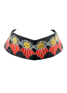 Flower Choker Necklace Women`s Red Embroidered Short Necklace