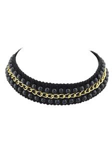 Image of Collana corta nero girocollo collana catena perline femminile