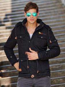 Image of Militare giacca invernale con coulisse in vita peso corto con cappuccio giacca maschile nera