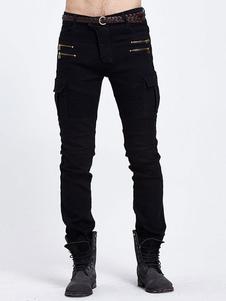 black-denim-jeans-men-skinny-zip-deco-fit-biker-jeans