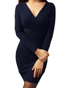 Image of Abito Bodycon maglia maglione vestito scuro Navy V collo manica lunga Slim Fit donna