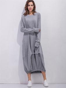 Image of Maxi abito luce grigia giro collo manica lunga donna pieghe abito lungo in cotone