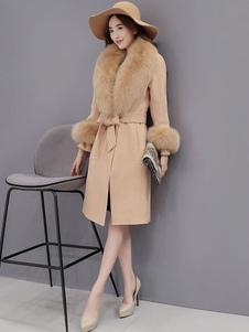 Image of Lana ginocchio lunghezza pelliccia collo con cintura cappotto donna In marrone chiaro
