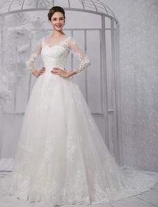 Image of Abbigliamento da sposa avorio di pizzo con perline con scollatur