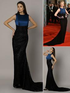 Natalie Dormer BAFTA sirena dos tonos azul y negra satinada vestido con tren de encaje