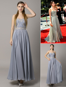 Image of Innamorato di perline elegante grigio Chiffon Prom Dress