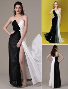 Trenzado blanco y negro sin tirantes abertura alta Vestido de Gasa
