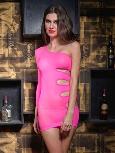 Image of Una spalla Club poliestere vestito in rosa chiaro
