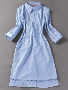 Image of Cold Shoulder Abito chemisier in cotone azzurro