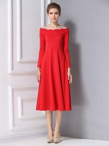 Image of Bagliore rosso vestito volant cotone raso abito Vintage