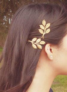 Image of Accessori per capelli in metallo tornante foglia oro