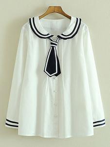Chemise de Lolita de coton blanc noeud papillon pour femmes