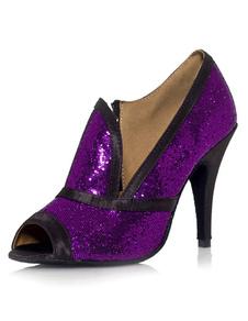 Chaussures de danse latine à talons aiguilles élégantes avec paillettes