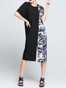 color-block-short-sleeve-shift-t-shirt-dress