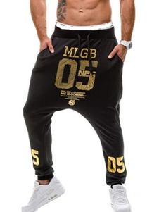 Image of Pantaloni da uomo 2018 in cotone nero con stampa numeri lettere Harem