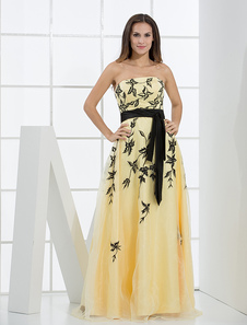 Daffodil Evening Dress Floor Length A line Strapless Embroidered Prom Dress With Ribbon Sash