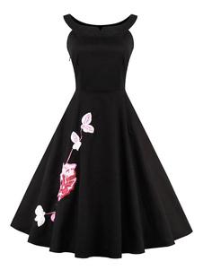 Image of Piccolo vestito nero floreale stampa Retro vestito con gonna a ruota