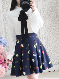 Image of Stampare Lolita gonna blu Chic gonna in Chiffon
