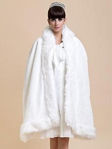 Image of Bianco mantello pelliccia mantello acrilico per le donne
