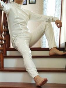 438e4e8e84 Halloween Sexy PVC Catsuit White Front Open Bodysuit