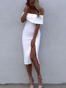 Blanco vestido Bodycon Split rayón Off-The-hombro vestido de fiesta