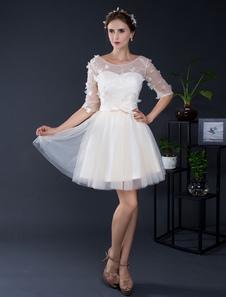 Image of Pizzo Tulle breve Off-the-spalla mezze maniche Mini nuziale abito da sposa illusione Abito da Homecoming