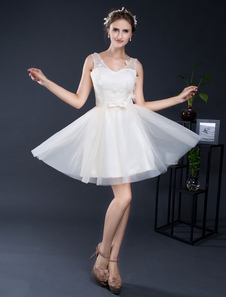 Image of Sposa corto vestito pizzo scollo a v Tulle a-line Mini abito nuziale Sash lacci Homecoming
