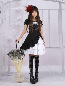 Algodón Apliques Lolita Una Pieza Vestido Cortas Mangas Lazo Capas Volantes