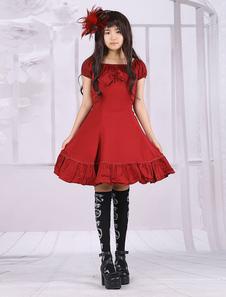 Image of Vestito da Lolita rosso classico tradizionale in cotone con maniche corte e pieghettature