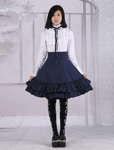 Image of Cotone bianco Lolita camicetta maniche lunghe e abiti gonna Loli