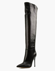 Stylish Pointed Toe PU Leather Overknee Zipper Boots