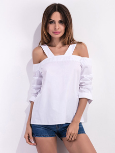 Abierta hombro blusa blanca Casual Camiseta algodón para las mujeres