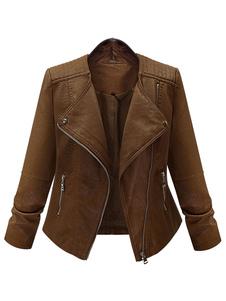 short-brown-jacket-women-pu-leather-long-sleeve-zippers-deco-moto-jacket