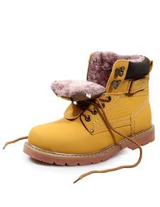 Image of Lavoro stivali foderato alta Top inverno stivali In giallo con l