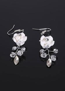 Blanco boda pendientes pedrería flores novia pendientes