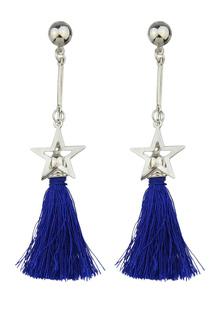 Image of Frangia penzolare orecchini in lega blu stelle goccia orecchino