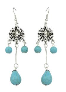 Image of Jeweled blu penzolare orecchino orecchino della lega gancio