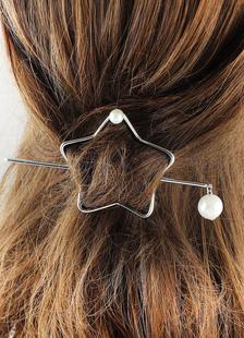 Image of Capelli d'argento Clip metallo stelle perla Barrette minimalista capelli accessori