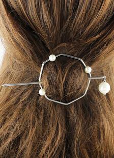 Image of Argento Clip perla Open cerchio FERMACAPELLI Barrette minimalista rustico metallo accessori capelli