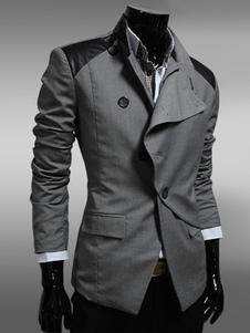 Image of Giacca manica lunga obliqua pulsante Patchwork Abito Casual Giacca uomo nera