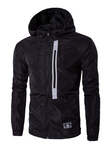 Image of Giacca manica lunga con Zip degli uomini di colore con coulisse giacca a vento giacca con cappuccio