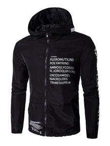 Image of Giacca a vento nera giacca con cappuccio lettere stampate elastico sul fondo giacca manica lunga con Zip