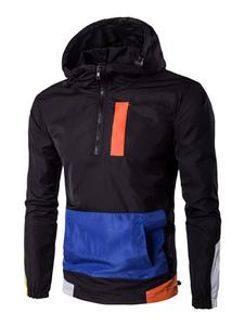 Con coulisse Mezza Zip colore blocco casuale con cappuccio giacca giacca a vento giacca maschile nera